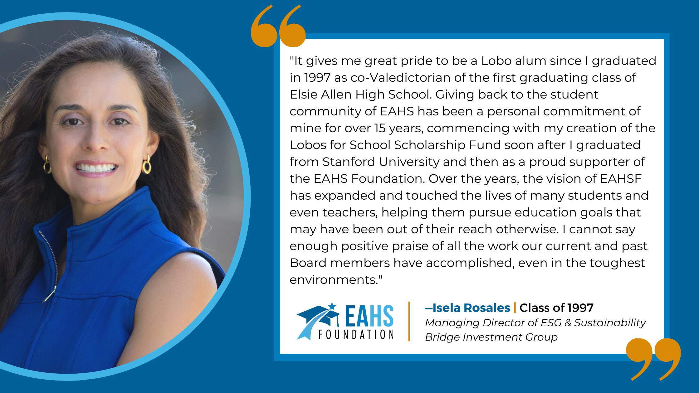 Alumni Spotlight - Isela Rosales, EAHS Foundation