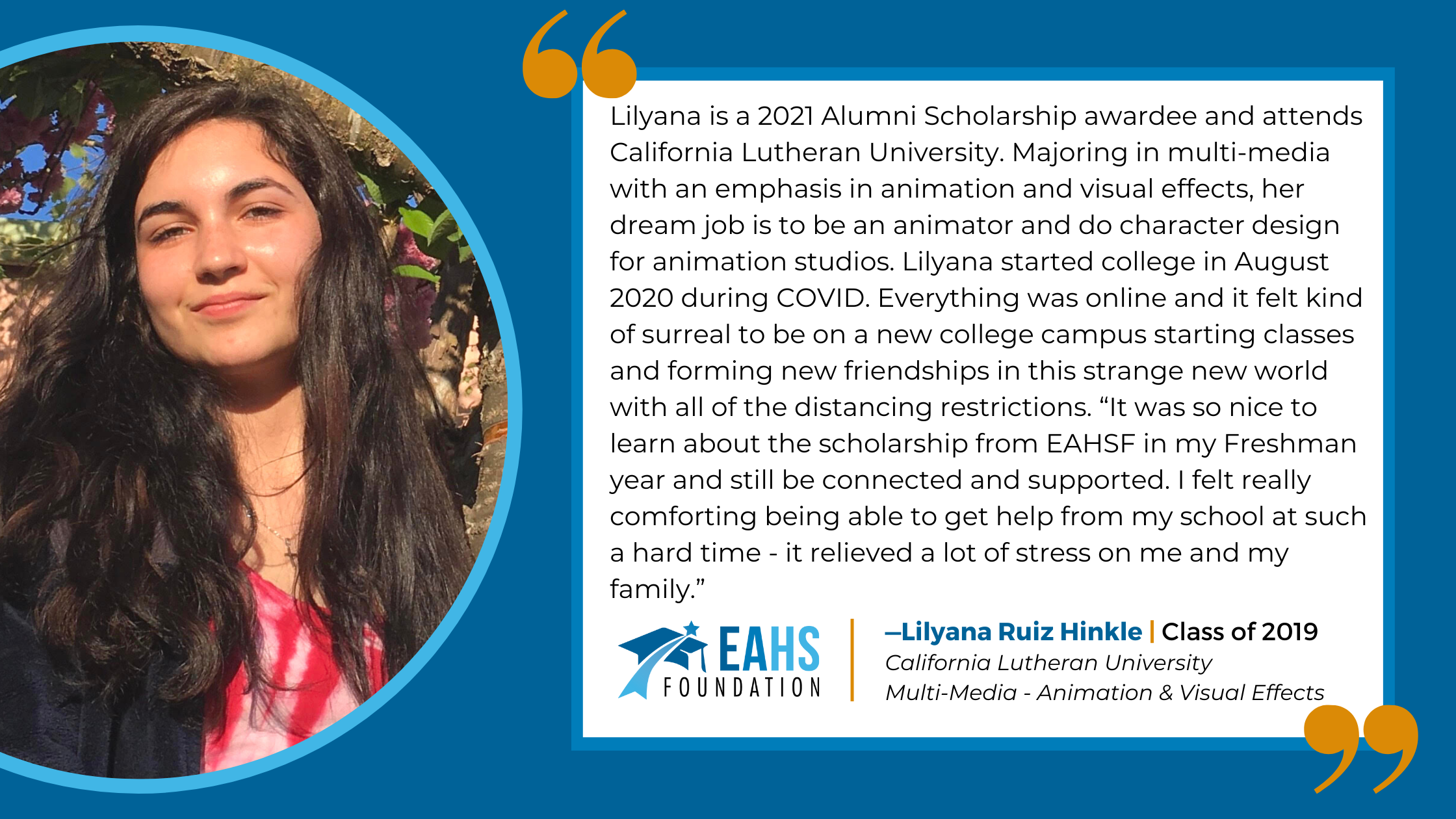 Alumni Spotlight - Lilyana Ruiz Hinkle, EAHS Foundation